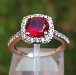 Rose Gold Red Ruby Halo Engagement Ring
